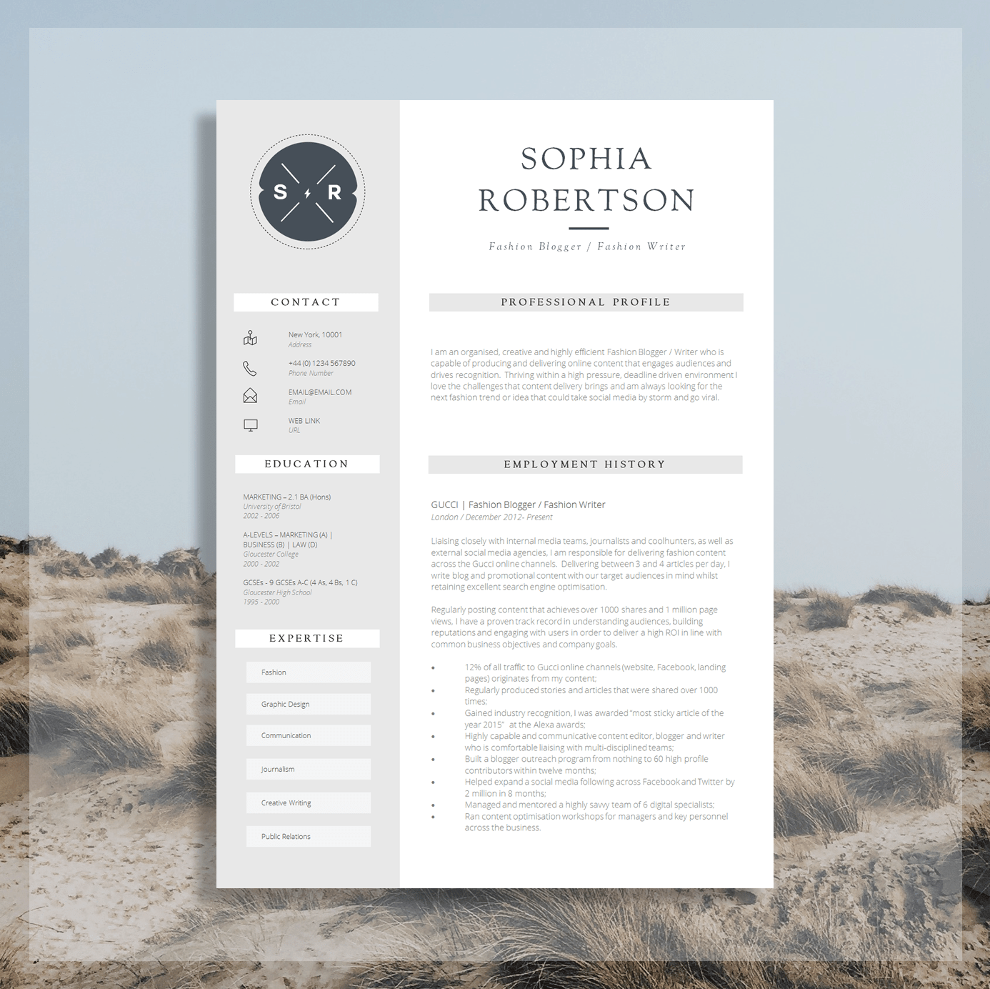 marketing cv template word
