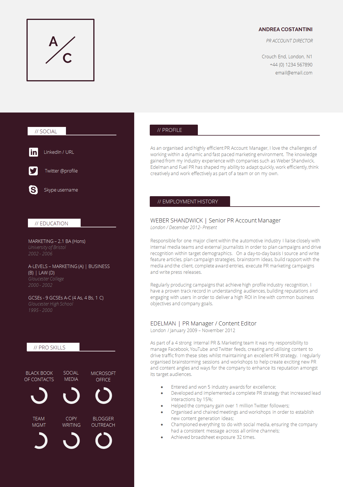 office cv template