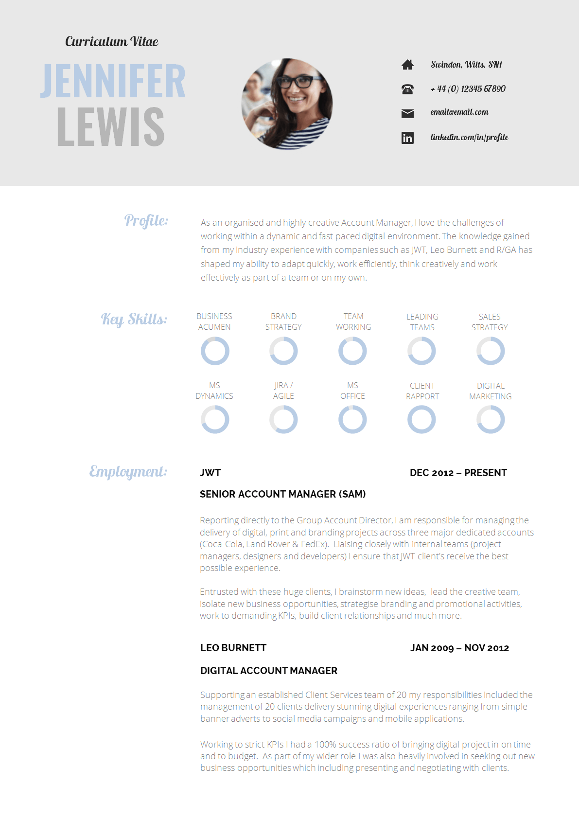 cv guidelines template