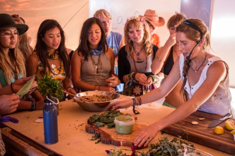 There were interesting workshops and speakers throughout the day in the Alchemy Village. At Nourishment Lab we prepared dandelion pesto and hollyhock dolmas.