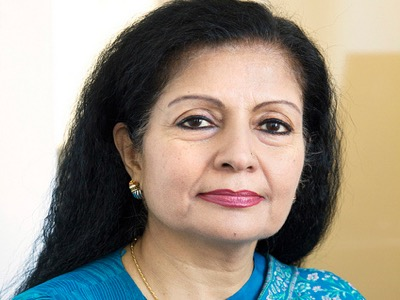 Lakshmi Puri in a blue sari