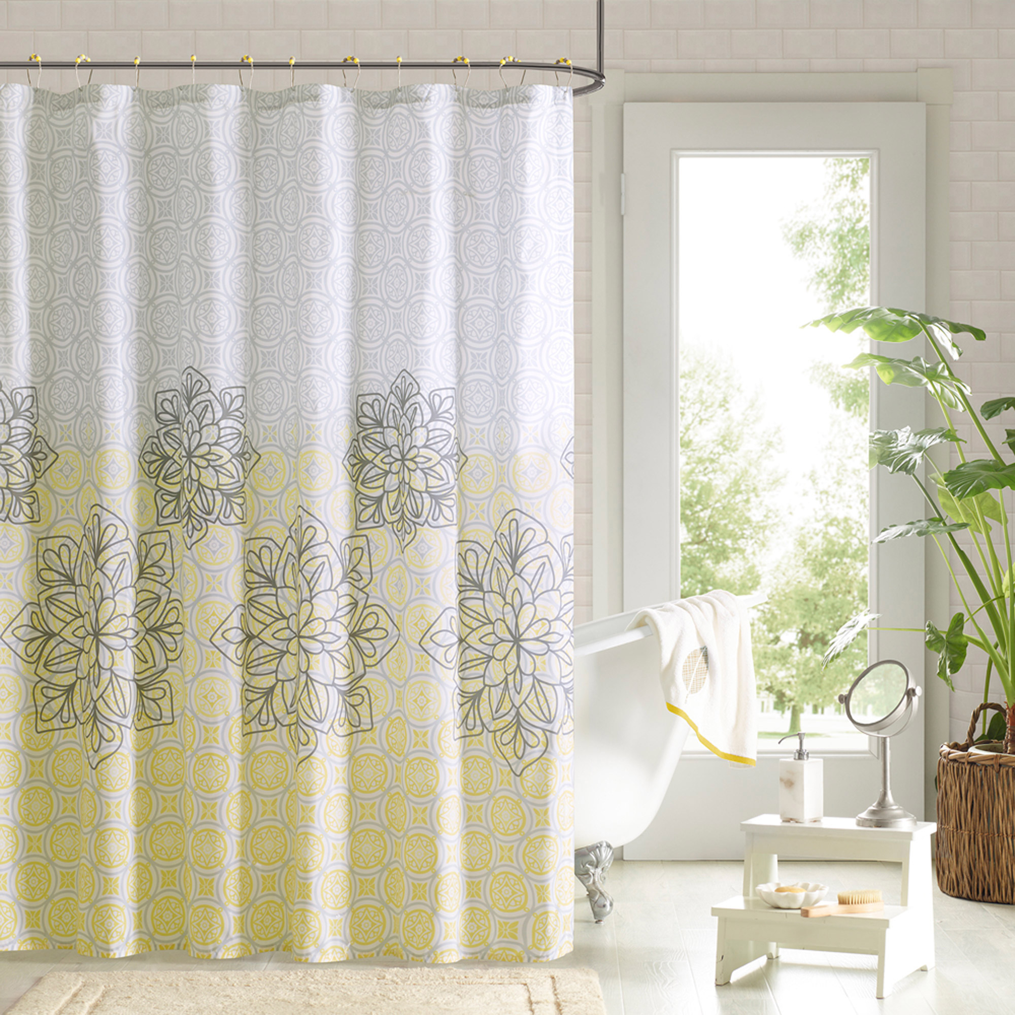 Yellow Fabric Shower Curtain Yellow Patterned Shower Curtains Shower Curtains Ideas