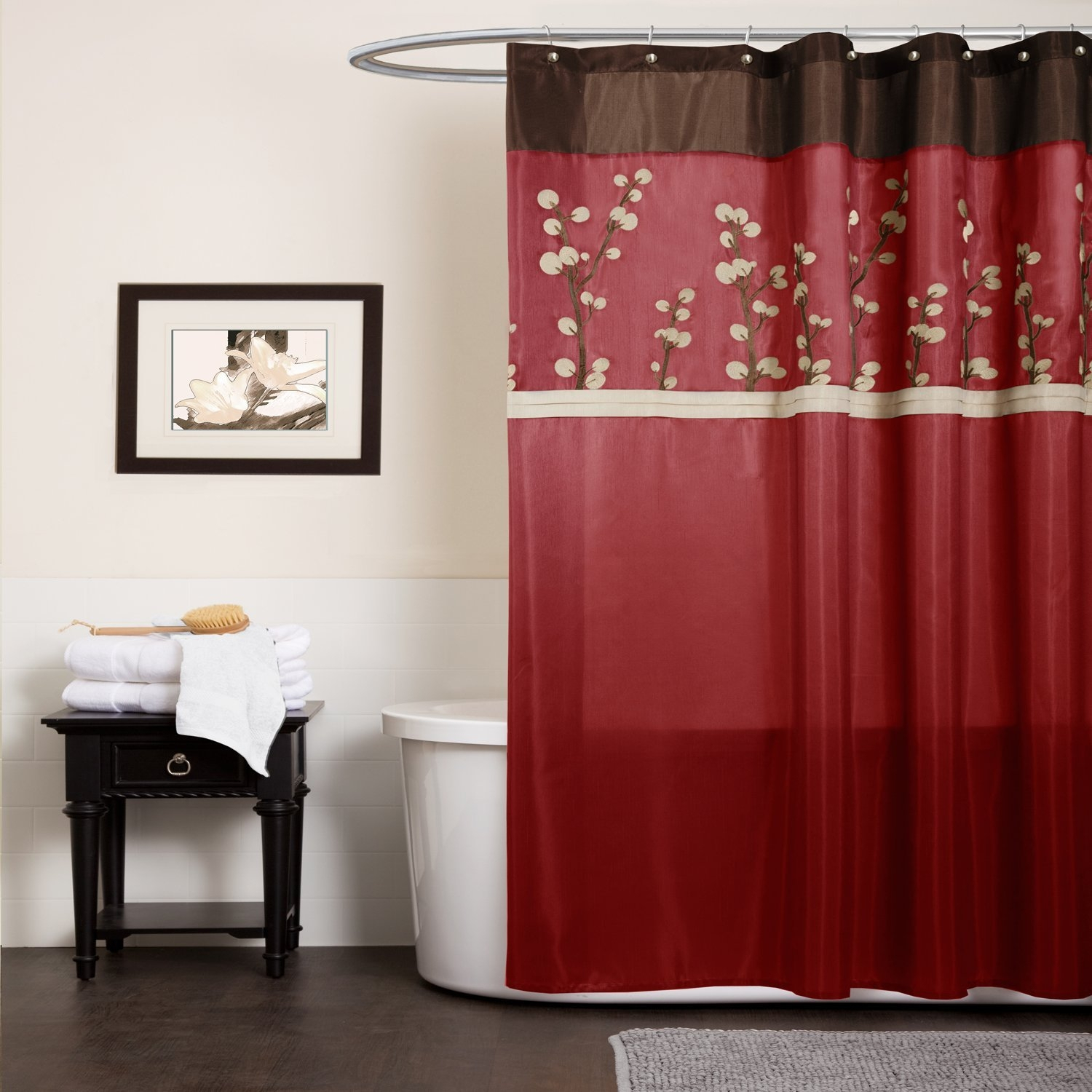 Red And Brown Shower Curtain Black Red And Brown Shower Curtain Shower Curtains Ideas