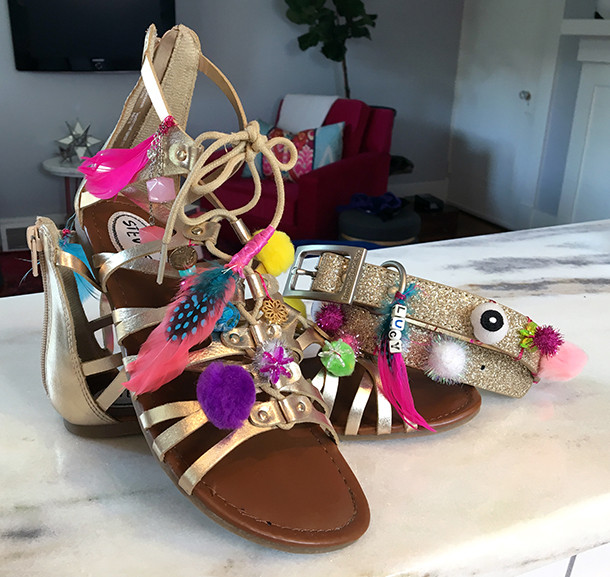 Pom Pom Sandals and Matching Collar