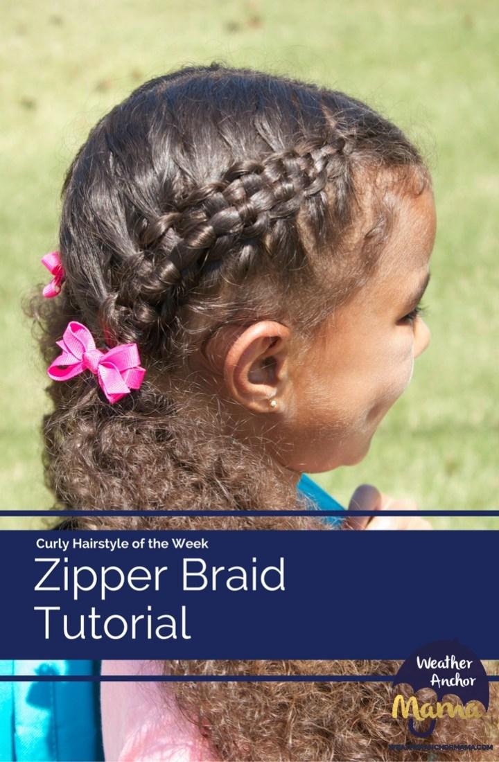 Zipper Braid Hairstyle on Curly Hair