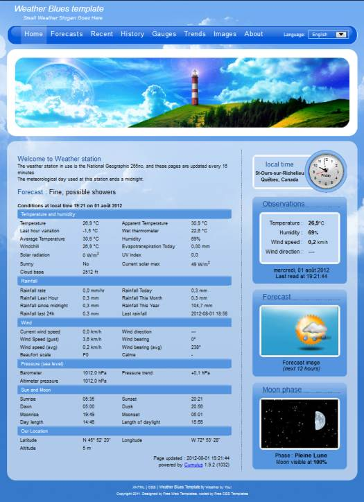 Weather by You! Weather Blues v2 template presentation - php templates