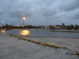 Flooded street at Lot F at Harbor Park