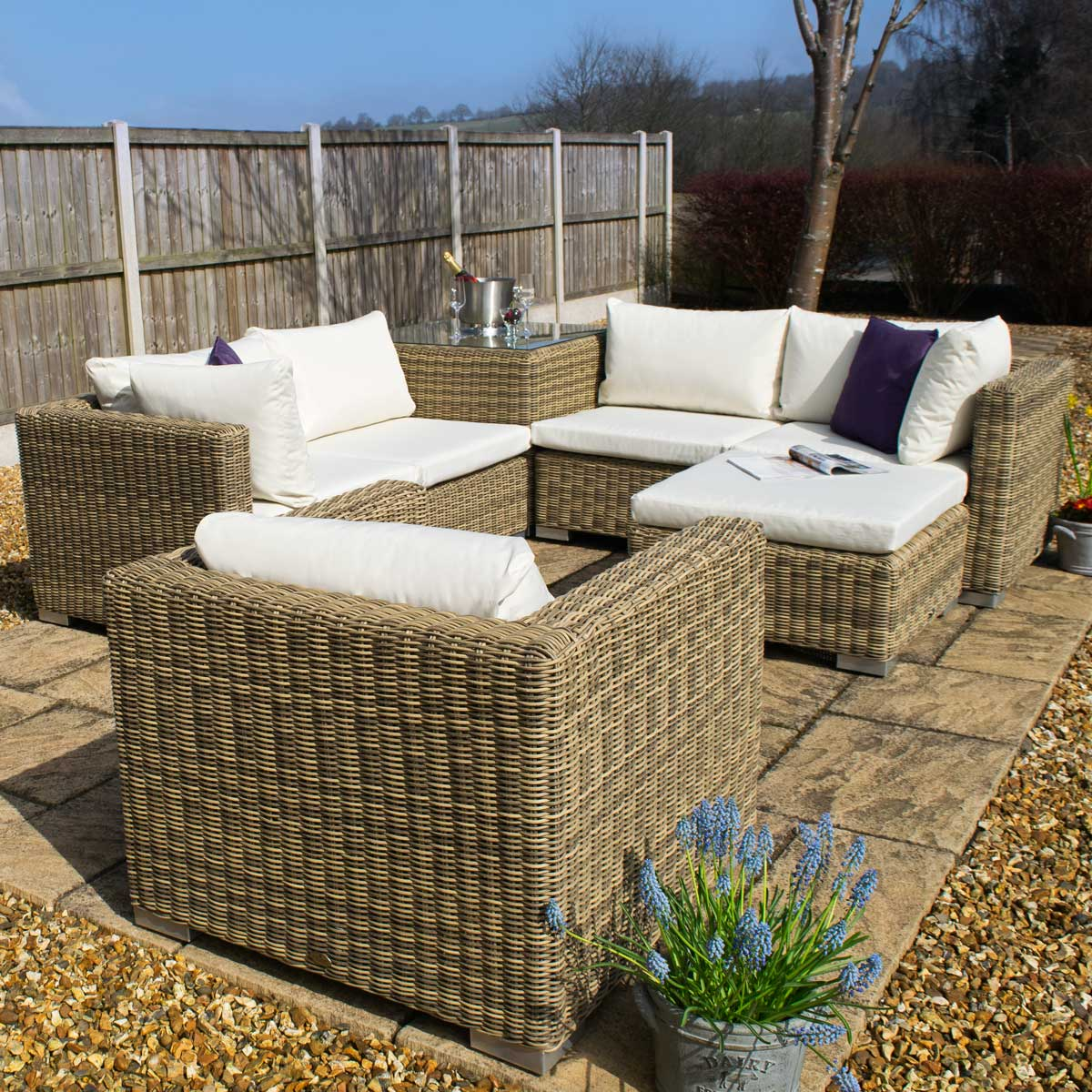 Rattan Sofa Corner Set Blenheim Glass Corner Sofa Set With Armchair