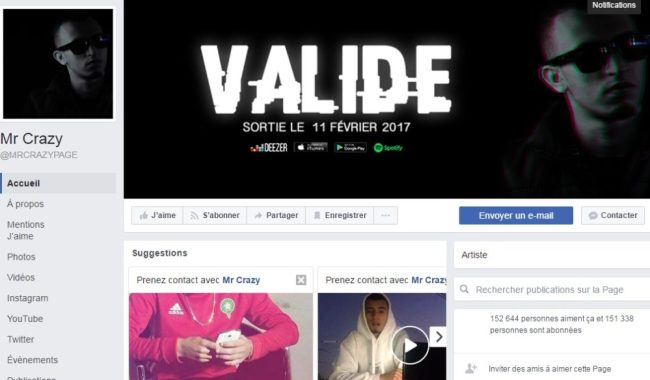 Page Facebook de MR CRAZY - Rap Maroc 2017