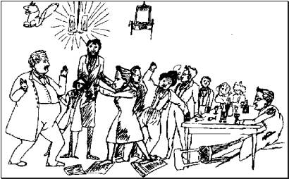 Fig. I: Pencil sketch by Engels, Stirner stands on the middle right, leaning against the table. He is a lonely figure: highbrowed, bespectacled and smoking a cigarette.