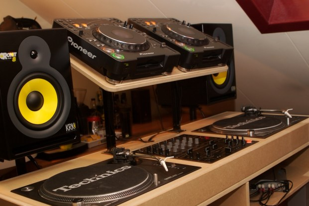 DJ Booth Decks, Mixer and Speakers