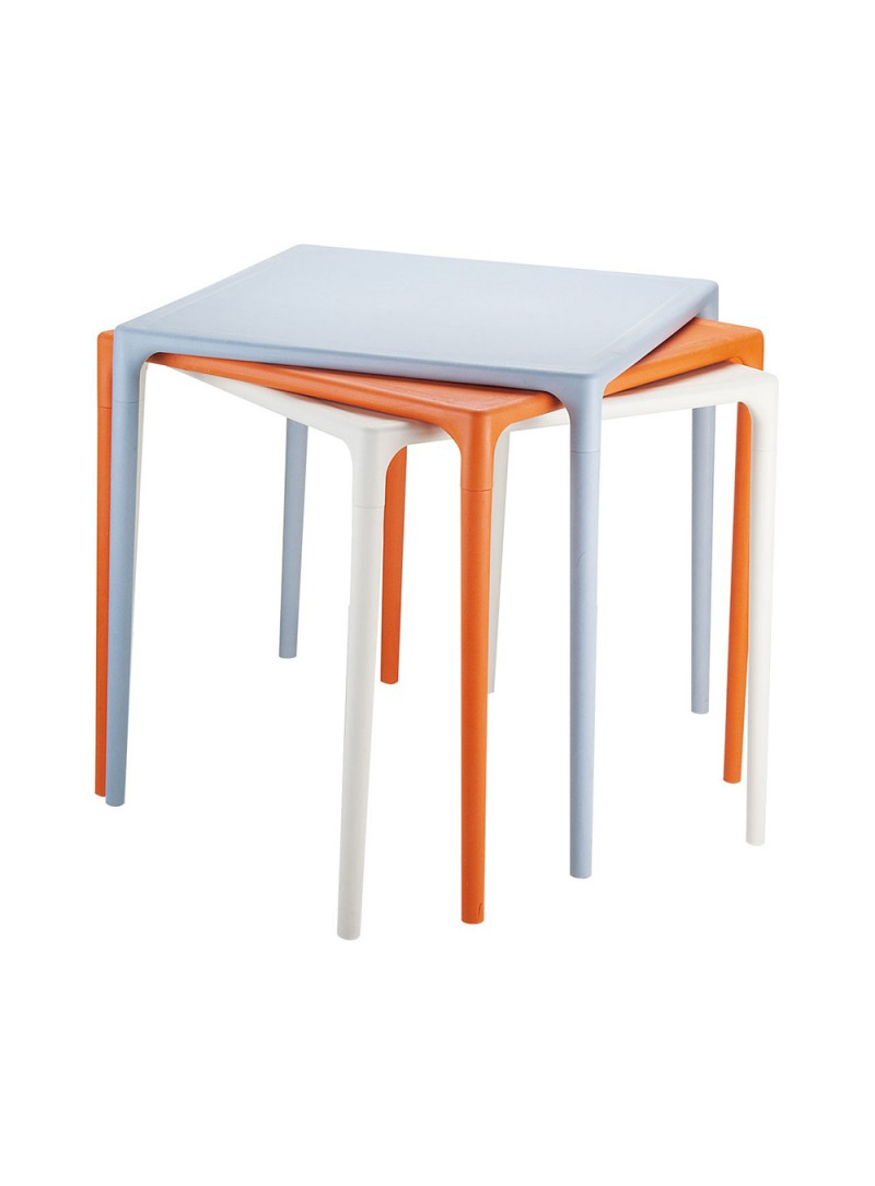 Table Exterieur De Restaurant Table Extérieur Terrasse Empilable En Polyéthylène Orange 72 X 72 Cm