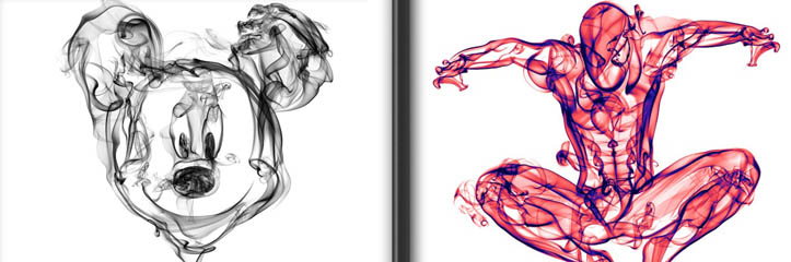 「スモークポスター」 - 有名人&スーパーヒーローの活気に溢れたポートレート「スモーキー」ラインで描かれたイラスト