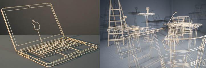 木製のワイヤフレーム彫刻が日常的な物体を再生します