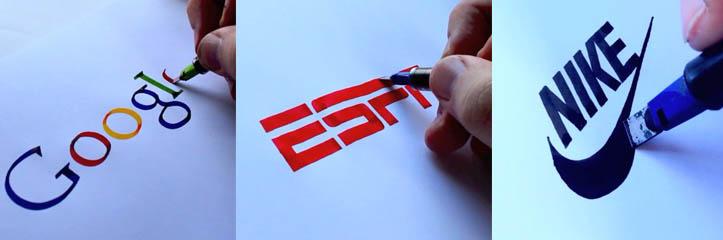 世界的に有名なグラフィックデザイナーがペンとインクを使いフリーハンドで有名なブランドのロゴを再現します