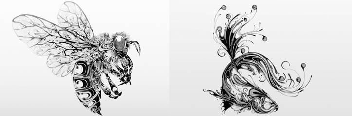 ペンで描かれた渦巻いた野生生物イラスト by Si Scott
