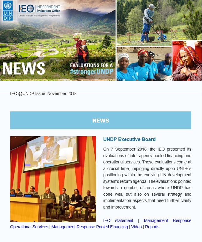 United Nations Development Programme - Evaluation - News letter