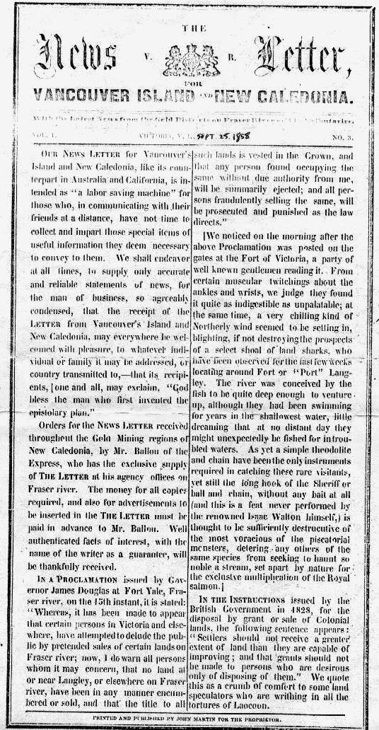 First Newspapers on Canadau0027s West Coast - printing on lined paper