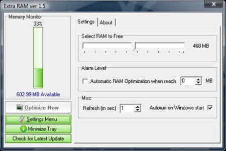Liberar memoria RAM con ExtraRam