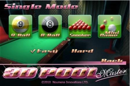 3D Pool Master, un entretenido juego de billar para iPhone