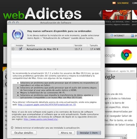Mac Os X Lion 10.7.1 Actualización de Mac OS X Lion 10.7.1 disponible para descargar