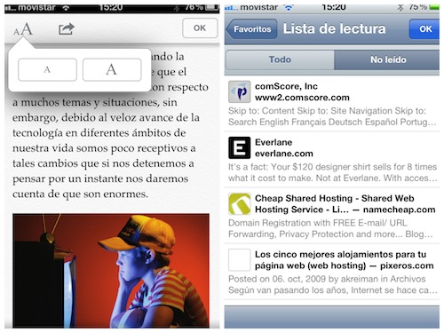 safari ios 5 lectura Novedades en las Apps de iOS 5 [Safari, Música, Calendario y Game Center]