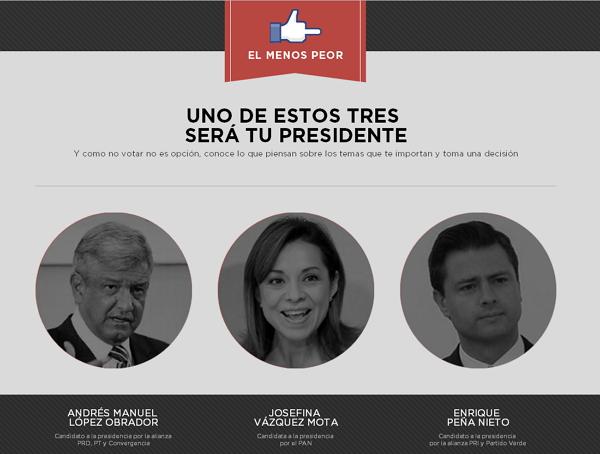 elmenospeor Tres sitios para ayudarte a elegir a tu candidato favorito para la Presidencia de México