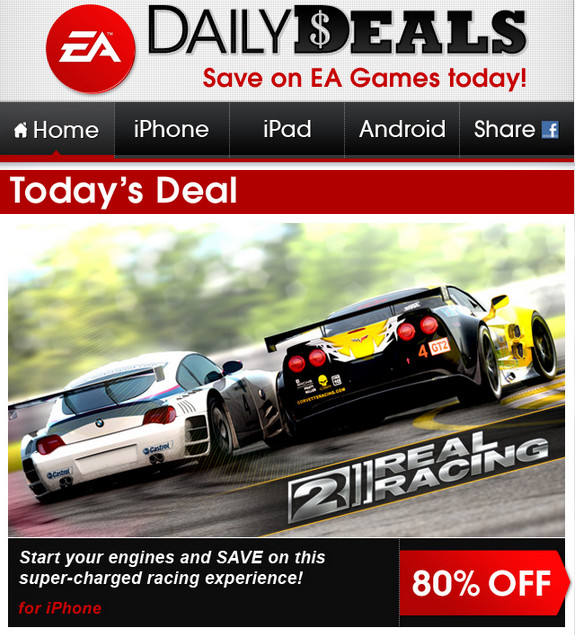 daily deals EA tiene rebajas de hasta 85% de descuento en juegos de iPod iPhone iPad