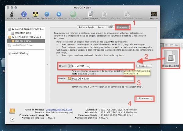 Instalar mountain lion usb sd 3 Cómo instalar OS X 10.8 Mountain Lion desde un USB y SD