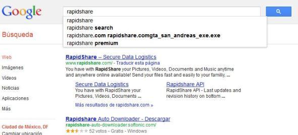 busqueda rapidshare 590x268 Oficial la prohibición a Google en Francia de autocompletado en búsquedas de Rapidshare