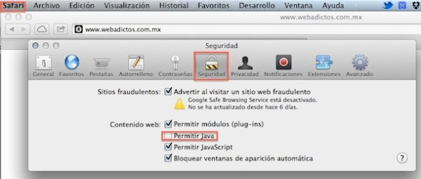 Desactivar Java safari 590x252 Cómo desactivar Java RE 1.7 en Internet Explorer, Firefox, Safari y Chrome