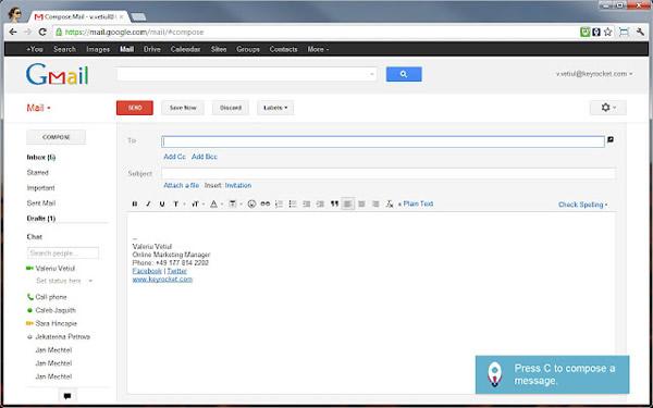 atajos gmail Aprender los atajos del teclado de Gmail con KeyRocket para Chrome