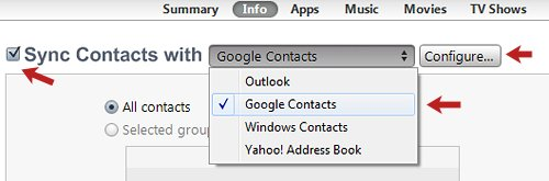 Sync Contacts with Menu