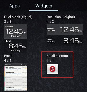 1 x 1 Email Account Widget
