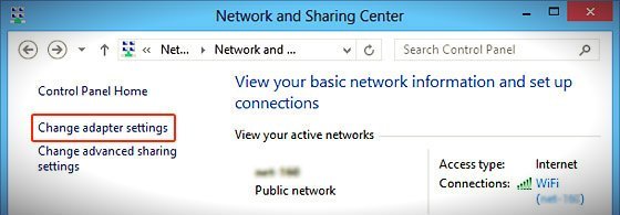 network and sharing center change_adapter_settings