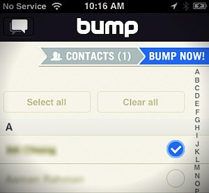 bump contacts screen