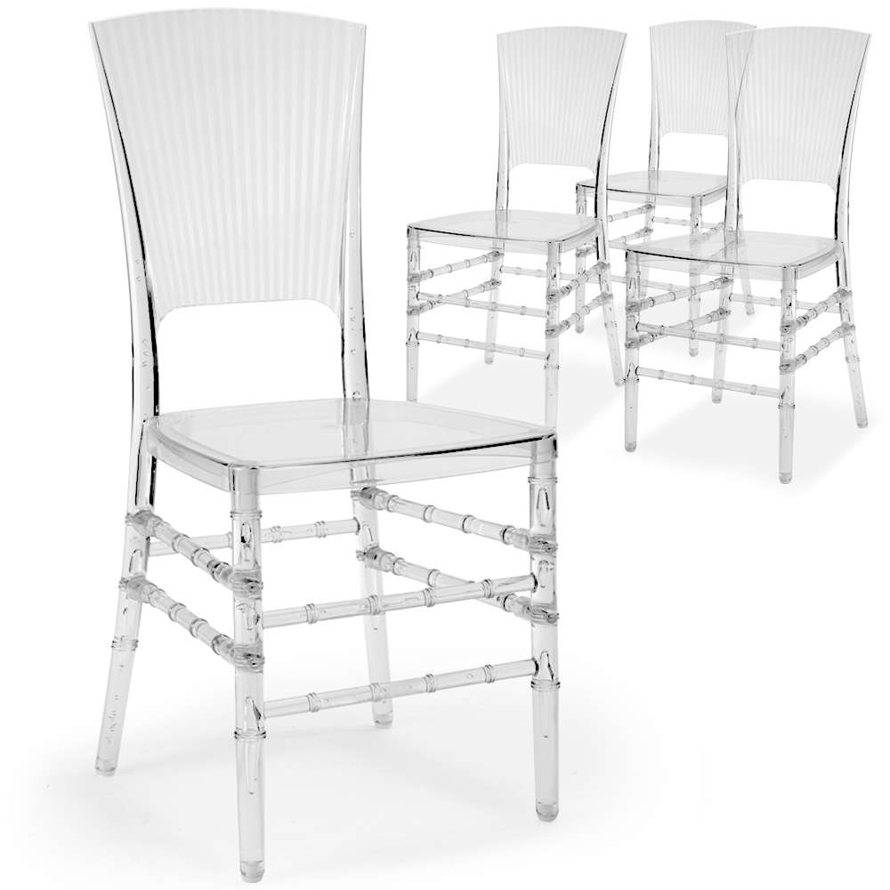 Lot 4 Chaises Transparentes Lot De 4 Chaises Hampton Plexi Transparent