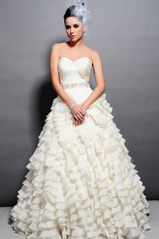 sweetheart empire waist ball gown organza wedding dress