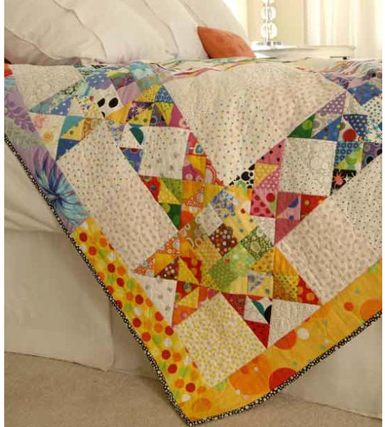 Quilting Digest Free Patterns : Scrap quilt made with vibrant fabrics Most Popular Pins