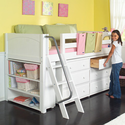 great idea for small bedroom dresser and storage under a loft