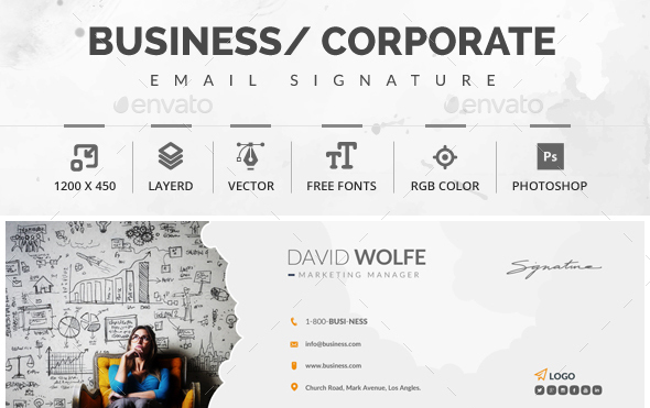51+ Awesome Email Signature Templates 2017 (HTML, PSD) - business signature email