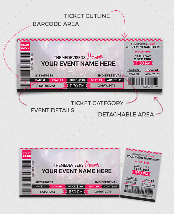 66+ Multipurpose Ticket Templates 2018 (PSD, Vector, Word) - Concert Ticket Templates