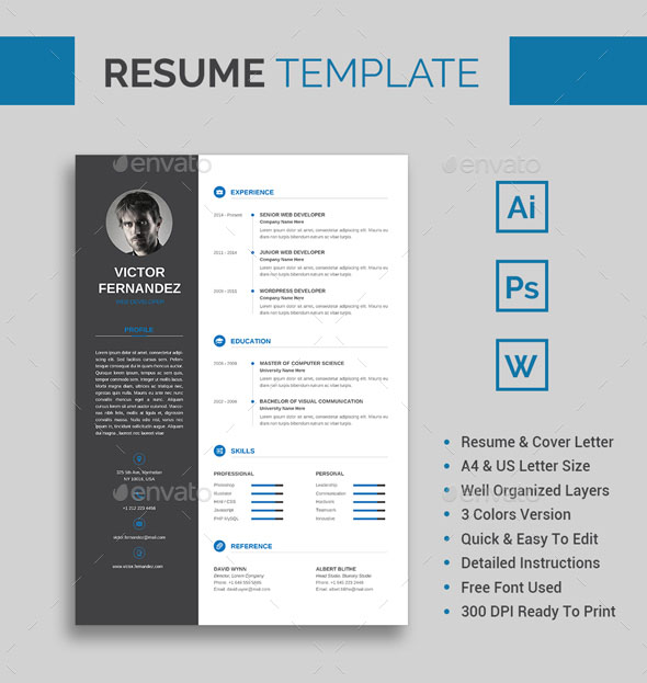 60+ Awesome Resume CV Templates 2018 (Word, Indesign, PSD) - editable resume template