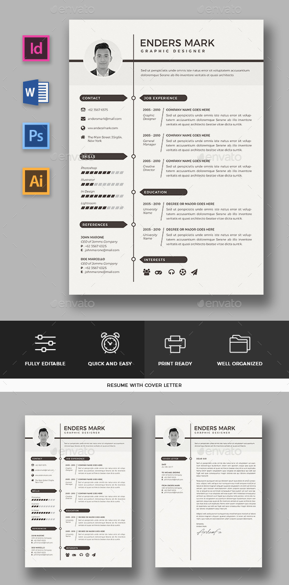 60+ Awesome Resume CV Templates 2018 (Word, Indesign, PSD) - quick and easy resume template
