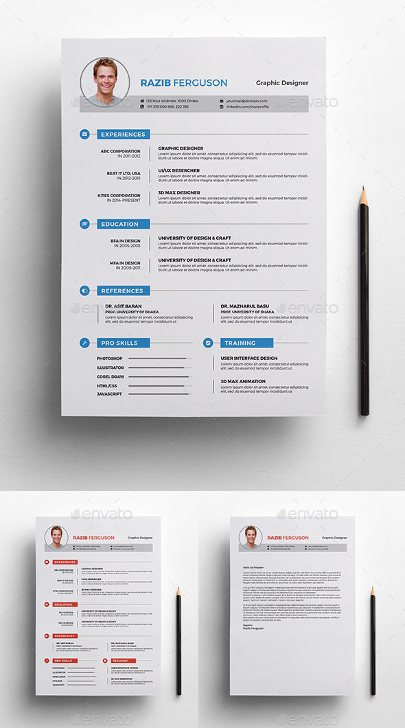 60+ Awesome Resume CV Templates 2018 (Word, Indesign, PSD) - 2 page resume template