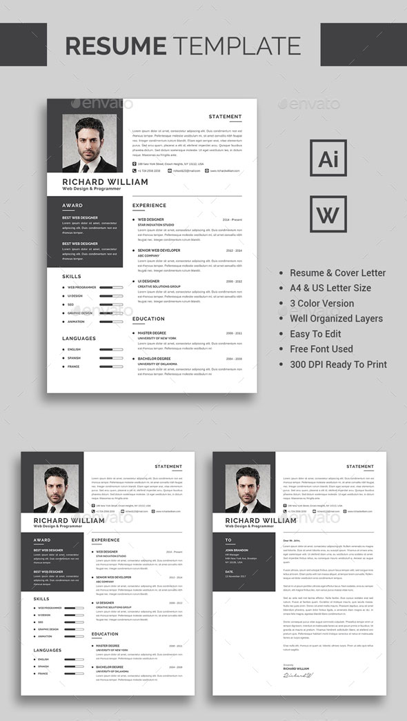 60+ Awesome Resume CV Templates 2018 (Word, Indesign, PSD) - resume template website