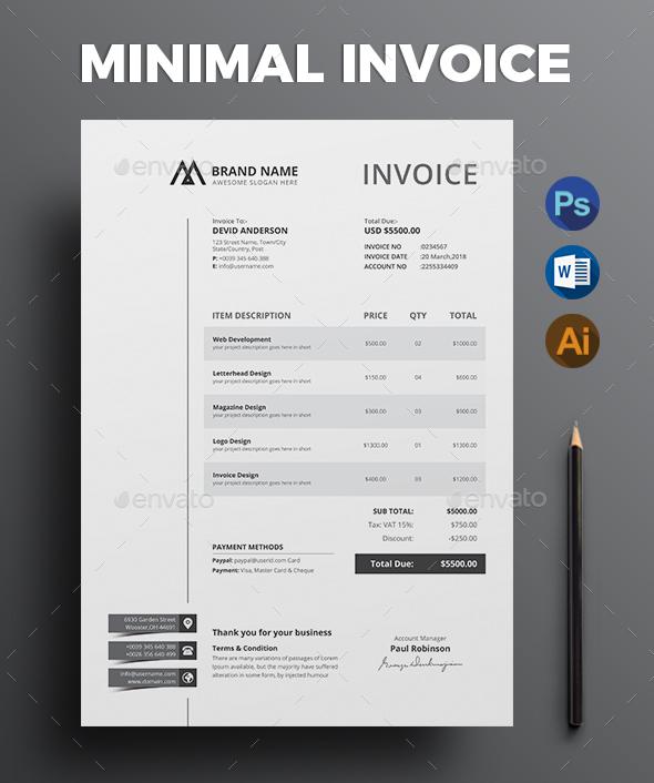 63+ Invoice Design Templates 2018 (PSD, Word, Excel, PDF, InDesign) - invoice designs