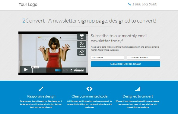 2Convert Responsive Landing Pages - Free Website Templates