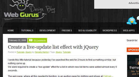 Live update list with jQuery