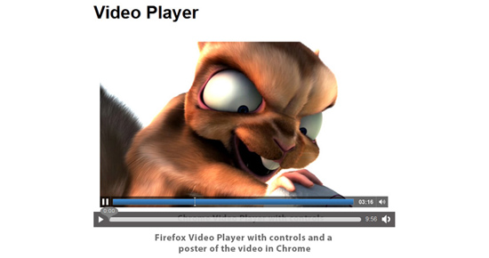 Firefox native video player with controls and a poster